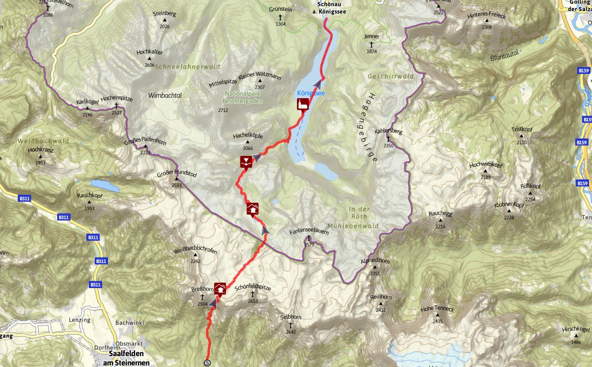 Topographie Almer Wallfahrt durch das Steinerne Meer