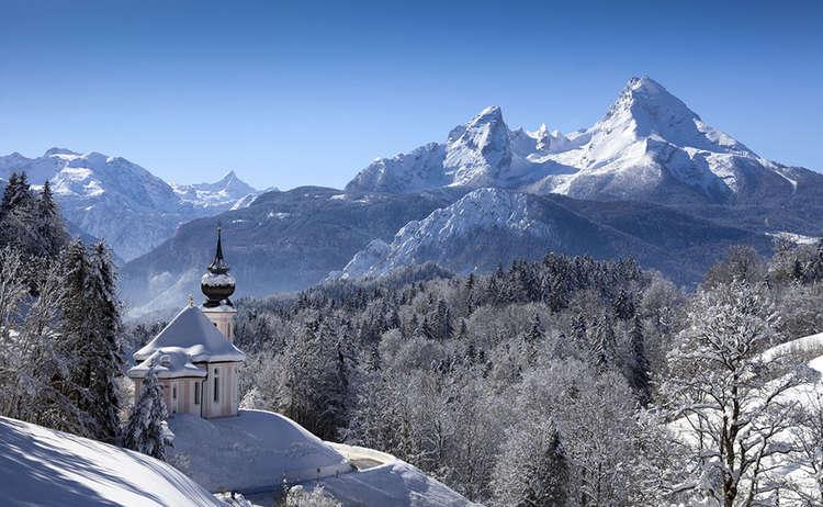 Wallfahrtskirche Maria Gern Watzmann Winter